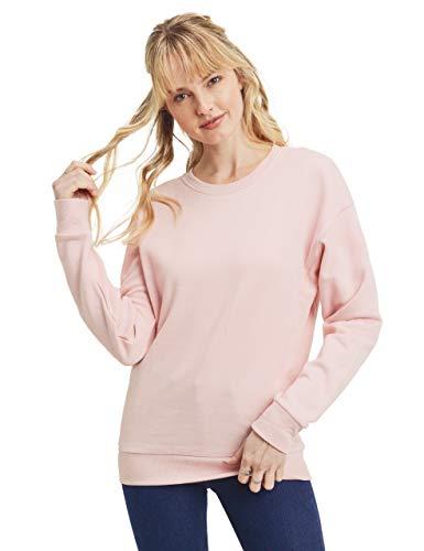 esstive Women's Ultra Soft Fleece Basic Lightweight Casual Solid Crew Neck Sweatshirt, Blush Pink, X-Large