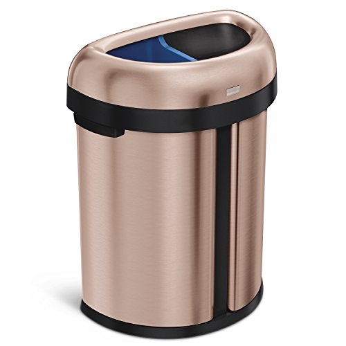simplehuman 66 Liter / 17.4 Gallon Dual Compartment Recycler Semi-Round Open Commercial Trash Can,...