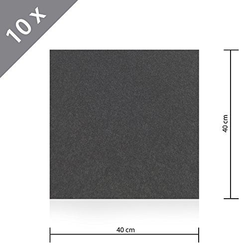 HSM 10 x Teppichfliese Nadelfilz Bodenbelag selbstklebend für Treppe, Kinderzimmer oder Küche 40cm x 40cm ANTHRAZIT