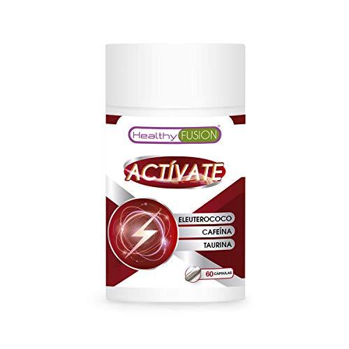 ACTÍVATE – CAFEÍNA + TAURINA + ELEUTEROCOCO   Potente estimulante energético   Elimina la fatiga y Mejora la resistencia Física y la Concentración   Mejora y potencia el rendimiento Muscular   60 Caps