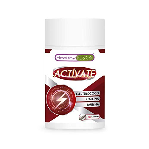 ACTÍVATE – CAFEÍNA + TAURINA + ELEUTEROCOCO | Potente estimulante energético | Elimina la fatiga y Mejora la resistencia Física y la Concentración | Mejora y potencia el rendimiento Muscular | 60 Caps