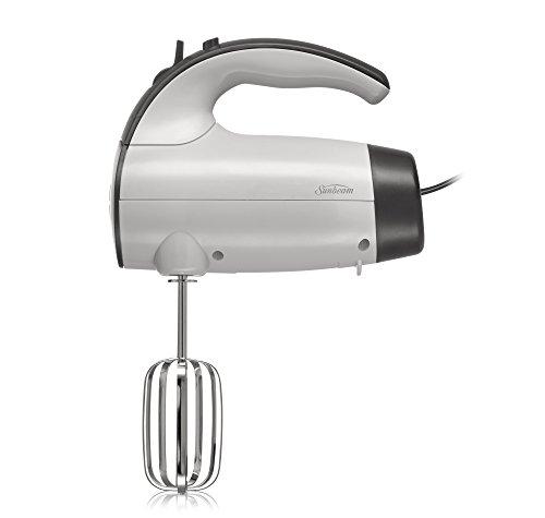 Sunbeam 2525 220-Watt 6-Speed Retractable Cord Hand Mixer, White/Grey - 002525-000-000