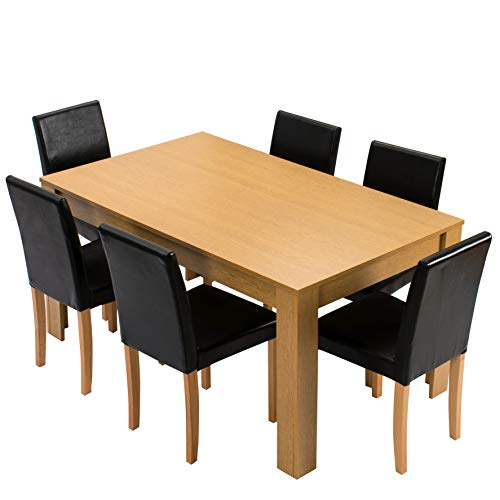 Cherry Tree Furniture 7-Piece Dining Room Set 6-Seater 150 X 90 CM Dining Table + 6 Chairs, Oak Colour Table & Black PU Leather Seats
