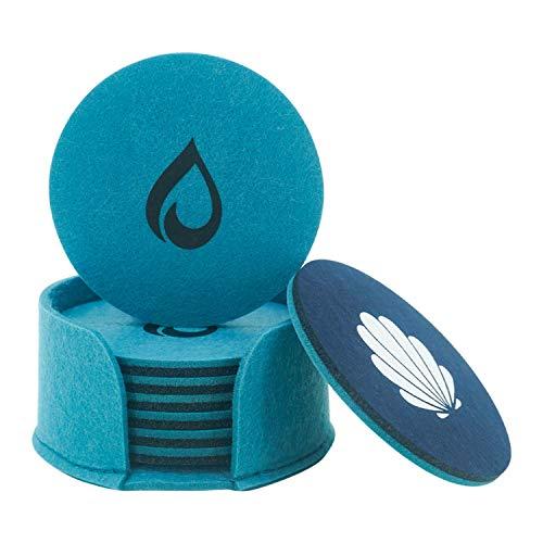 Untersetzer Gläser | Filzuntersetzer | Glasuntersetzer | Tassen Untersetzer Set 8er zweifarbig rund mit Halterung (Dunkelblau/Hellblau)
