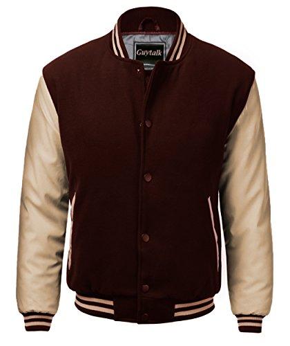 Guytalk Men's Letterman Style Premium Thick Fabric Varsity Baseball Jacket Small BROWNKHAKI