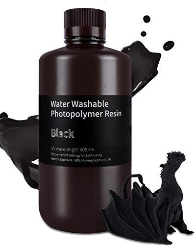 ELEGOO Water Washable 3D Printer Resin, 1000g Black 405nm Rapid UV Resin Fast-Curing Resin for LCD 3D Printer