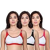 WomensBeauty Women's Sports Bra (Pack of 3) (Sports Bra -34_Multicolored_34)