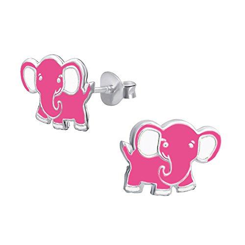 Laimons Kids Orecchini a pressione per bambini gioielli per bambini Elefante Rosa Argento Sterling 925