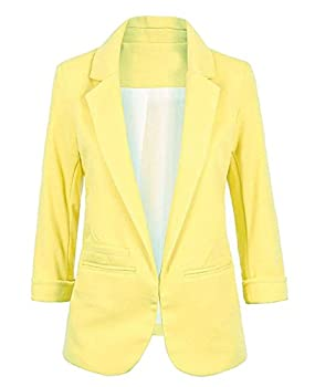 FACE N FACE Women s Cotton Rolled Up Sleeve No-Buckle Blazer Jacket Suits Medium Yellow