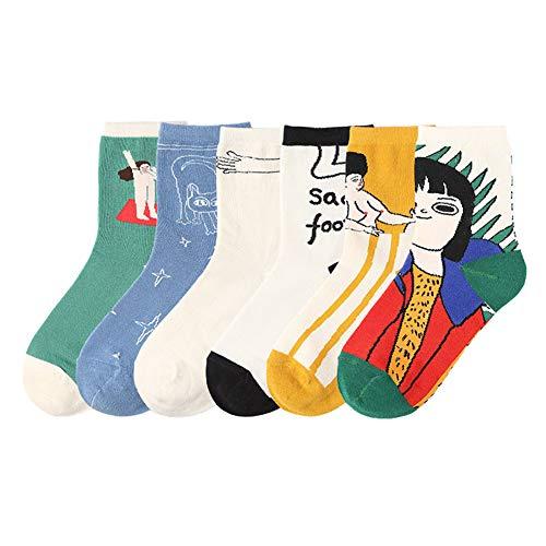 Xiangmall 6 Pares Calcetines De Dibujos Altos Impresos Calcetines Divertidos de Algodón para Mujer Niña