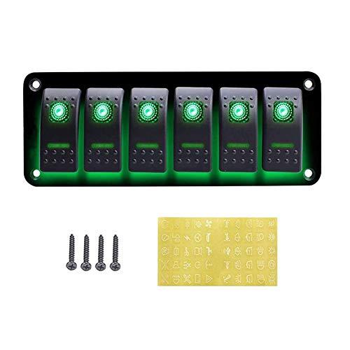 Panel de interruptores de 12-24 V, panel de interruptores resistente al agua, diseño profesional para coche, RV, barco, yate, marina, fácil instalación (verde)