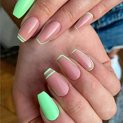 Unicra Clavos falsos verdes naturales para ataúd francés, con tapa completa, para uñas postizas de acrílico brillante para mujeres y niñas (24 unidades)