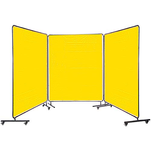 VEVOR Welding Curtain 6' x 6' Welding Screens Flame Retardant 3 Panel Welding Curtain with Frame and Wheels, Translucent Welding Shield, Flame Resistance Weld Curtain, Adjustable Size, Yellow