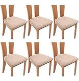 TIANSHU Funda Asiento Silla,Fundas elásticas para Asientos de sillas de Comedor y Oficina Jacquard Poliéster Elástica Fundas sillas Duradera(Paquete de 6,Arena)