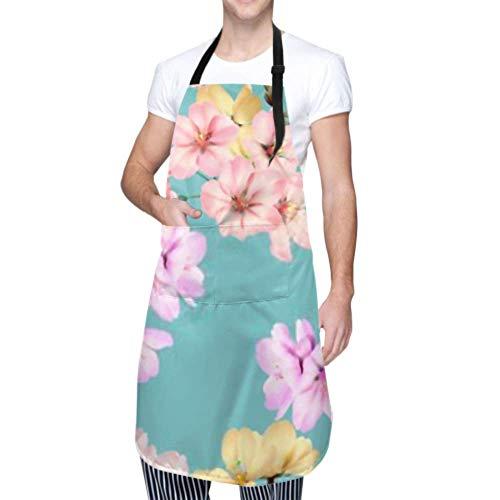 YUXB wasserdichte Schürze mit Taschen, nahtloses Blumenmuster Buntes Somei Yoshino verstellbare Sicherheitsschürze, Kochschürze, Kochschürze Männer Frauen Küchenschürze, chemische Schürze
