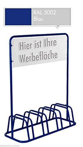 4er Werbe-Fahrradständer mit Werbeschild / Fahrradhalter + Werbetafel (Blau)