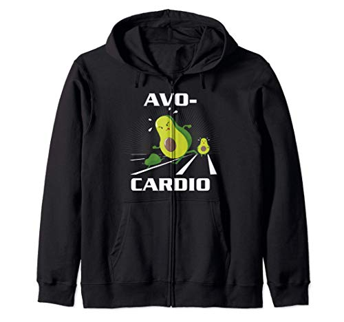 Avocardio Keto Low Carb Diet Avocado Pun Cardio Gym Workout Zip Hoodie