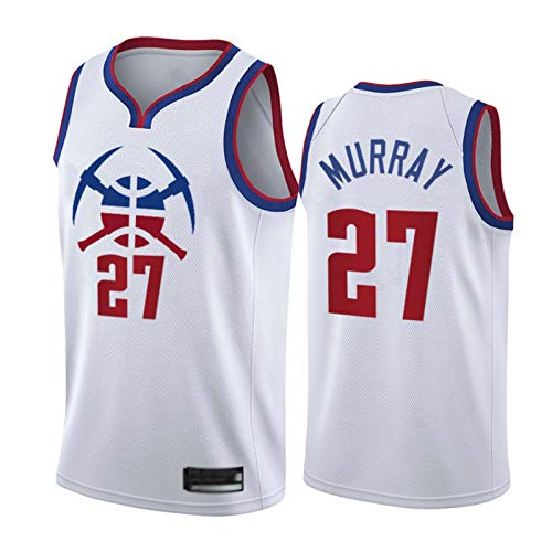 CLKJ 2021 Temporada Nuggets # 27 Murray Ganed Edition Basketball Jersey para Hombres, fanáticos Chaleco de Moda al Aire Libre Camiseta Resistente al Desgaste White-L