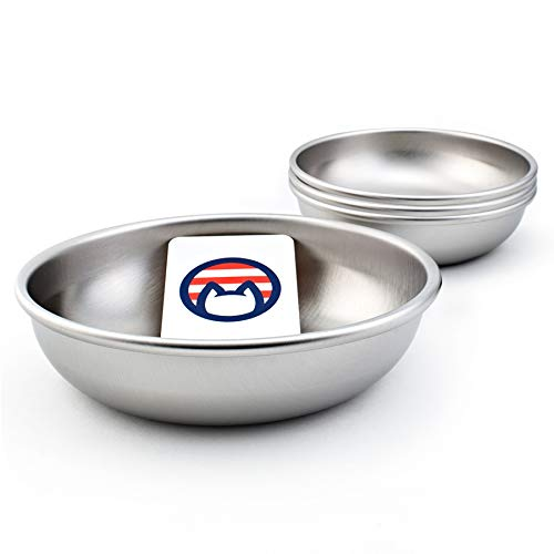 Americat Company Stainless Steel Cat Bowls – Made in The USA from U.S. Materials – Prevent Whisker Fatigue – Dishes for Cat Food and Water (Set of 4)