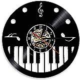 Reloj de Pared de Vinilo Disco de Vinilo Artista de música de Piano Estudio decoración de la habitación Reloj de Pared de Piano Retro