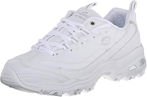 Skechers Women's D'Lites Memory Foam Lace-up Sneaker,White Silver,7.5 M US