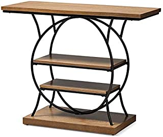Baxton Studio Lavelle Walnut Brown Wood and Bronze Metal Console Table