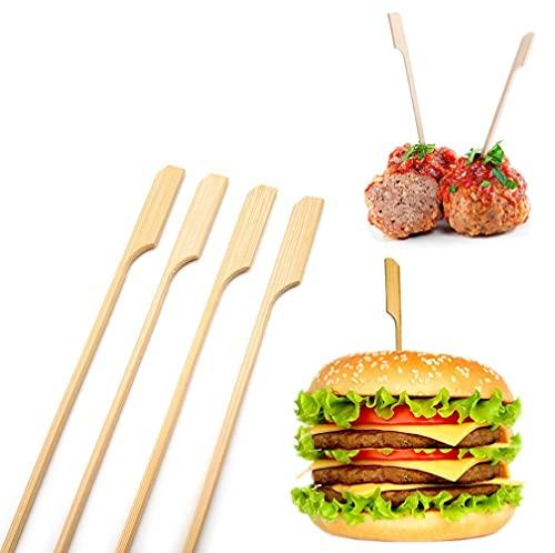 AhGuwa Pinchos de Bambú Natural, 250 Piezas, 12 cm, Palo de Brochetas, Palillos para Aperitivos, Brochetas de Bambú, para Comida, Chuches, Barbacoa, Fiestas, Bandeja Decorativa