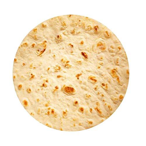 MANTA BURRITO - Cálida manta de vellón - 152cm redonda - Estampado 'Durum/Tortilla/Pizza/Pancake' - Para perro, niño o adulto - Como manta, toalla de playa o funda de asiento - Confort de lujo Plaid
