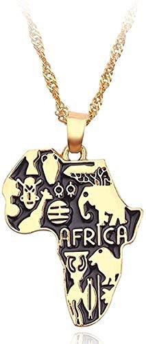 ZJJLWL Co.,ltd Collar Mapa de África Collar Bandera Totem Collar Animal Símbolo Elefante Colgante Cadena de Color Dorado Mapas africanos Collares Mujeres Hombres Gargantilla Regalo de la joyería