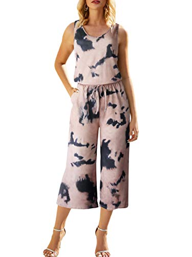 ANRABESS Women Summer Wide Leg Capri Jumpsuit Cropped Rompers Casual Sleeveless Tie Dye Jumpsuit Rompers A04gutonghuang-S Copper