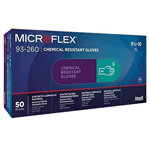 Microflex 93260100 93-260 7.8 Mil Triple-Layer Disposable Neoprene and Nitrile Blend Gloves, XL, (Box of 50)