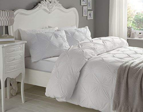 froncé Cercles Blanc 180 fils au pouce carré 100% coton super king HOUSSE DE COUETTE
