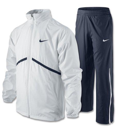 Nike N.E.T. Woven Boys Junior Tennis Warm-Up Tracksuit (White/Navy, L (14-16))