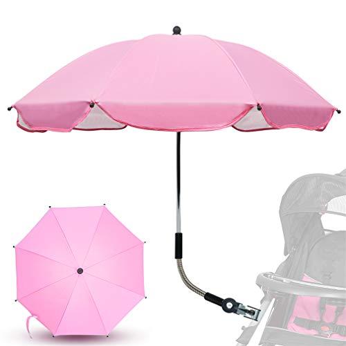Sonnenschirm Kinderwagen Universal, TBoonor baby Sonnenschutz Regenschirm UV Schutz 50+ mit Universal Halterung für Kinderwagen & Buggy, 75cm Durchmesser Schirm für regnerisch, sonnig (Rosa)