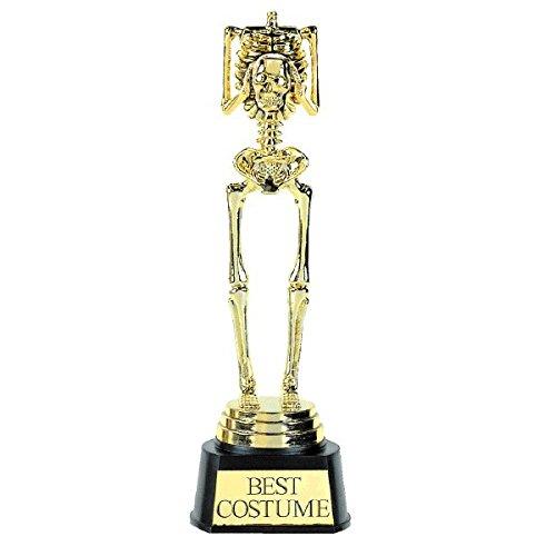 """Amscan Best Costume Skeleton Plastic Trophy 9 1/2"""" x 3"""", Gold"""