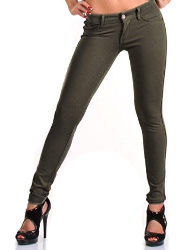 CHICK REBELLE 24brands - Damen Skinny Hose/Treggings/Röhrenhose- 965, Größe:38;Farbe:Olive