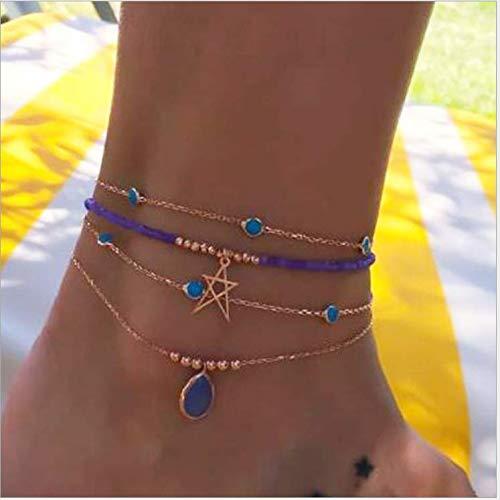 Nicute Boho gelaagde gouden kristal hanger Anklet blauwe kralen voet ketting strand ster enkel voet sieraden voor vrouwen en meisjes