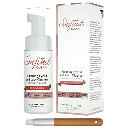Infinit Clean Foaming Eyelid and Lash Cleanser - Sensitive Eyelash Extension Cleanser Paraben & Sulfate Free - Removes...