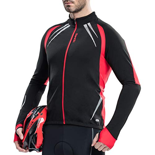 Santic Fietsjack Mannen Bike Bovenkleding Winddicht Ademend Fleece Thermal Jersey Track Jassen Reflecterend Zwart