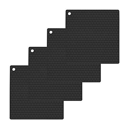 Oishii 4er Set Topf Untersetzer aus Silikon - Viereckige Topflappen Hitzebeständig bis zu 230°C (Schwarz)