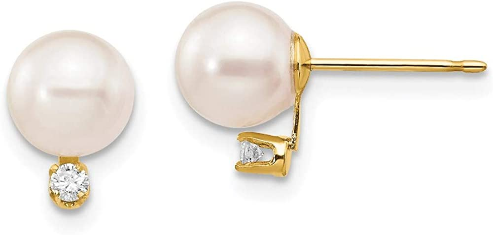 14k 6-7mm White Round Saltwater Akoya Cultured Pearl Diamond Post Earrings style XF474E