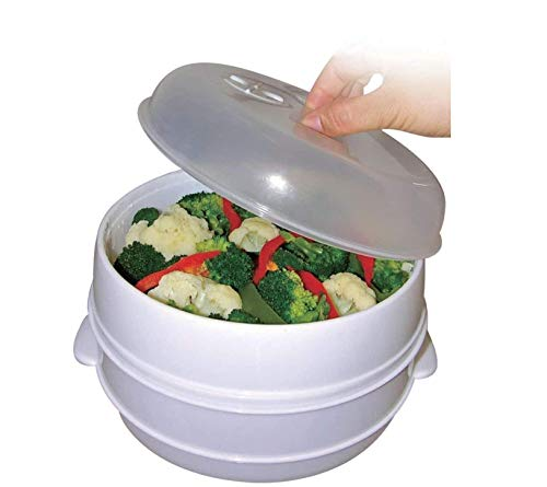 2 Tier Microwave Steamer Healthy Cooking Quick Fast Vegetables Fish Shellfish Oil Free Cooker