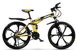 Bicicleta de montaña para adultos, bicicletas de carretera plegables de acero con alto contenido de carbono, 26 '' 21-30 velocidades Bicicleta de suspensión total MTB Engranajes Frenos de disco doble