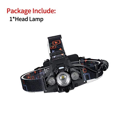 360 Rotation 3 Lampes Télescopique Zoomable Lampe frontale USB 18650 Rechargeable Head Light Cree T6 LED Phare 4 Modes Vélo Frontale XML-T6 Paquet A