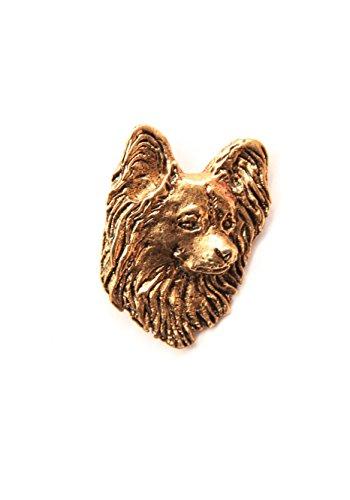 Pin/ Anstecker vergoldet Hunde Papillon [p054]