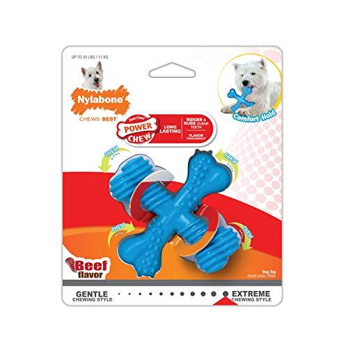 Nylabone Power Chew X-Shaped Dog Bone Chew Toy Adult Dog Beef Small/Regular (1 Count)