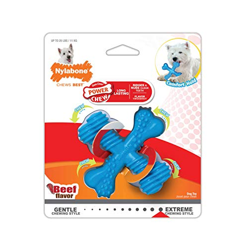 Nylabone Power Chew Extreme Chewing Comfort Hold X Bone Power Chew Durable Dog Toy Beef Regular, Blue