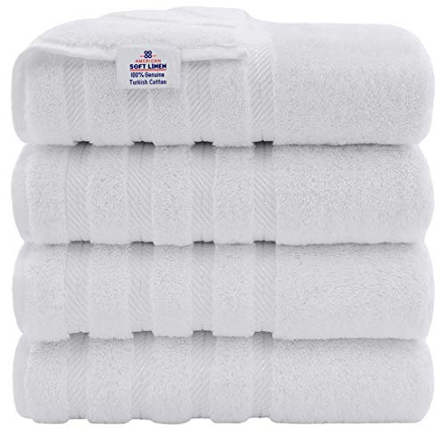 American Soft Linen Premium, 100% Turkish Genuine Cotton Towel Set Luxury Hotel & Spa Quality for Maximum Softness & Absorbency (4-Piece Bath Towel Set, Bright White)