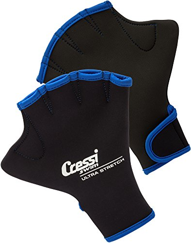 Cressi Swim Gloves, Guanti Palmati in Neoprene per Il Nuoto e l'Allenamento Unisex Adulto, Nero, S