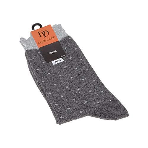 Dore Dore Socke mittelhoch - 1 paar - verstärkte Ferse - Verstarkte zehen - Flachnaht - ohne Frotte - Mit Tupfen - Coton - Gris - DD - 36/39